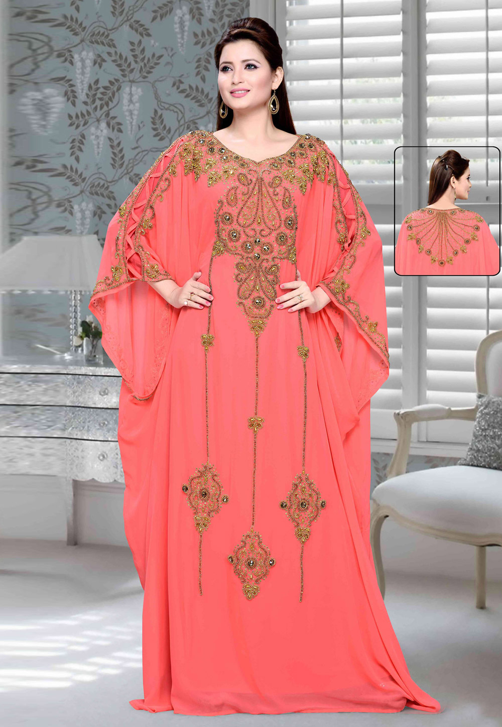 Pink Faux Georgette Embroidered Readymade Farasha 194717