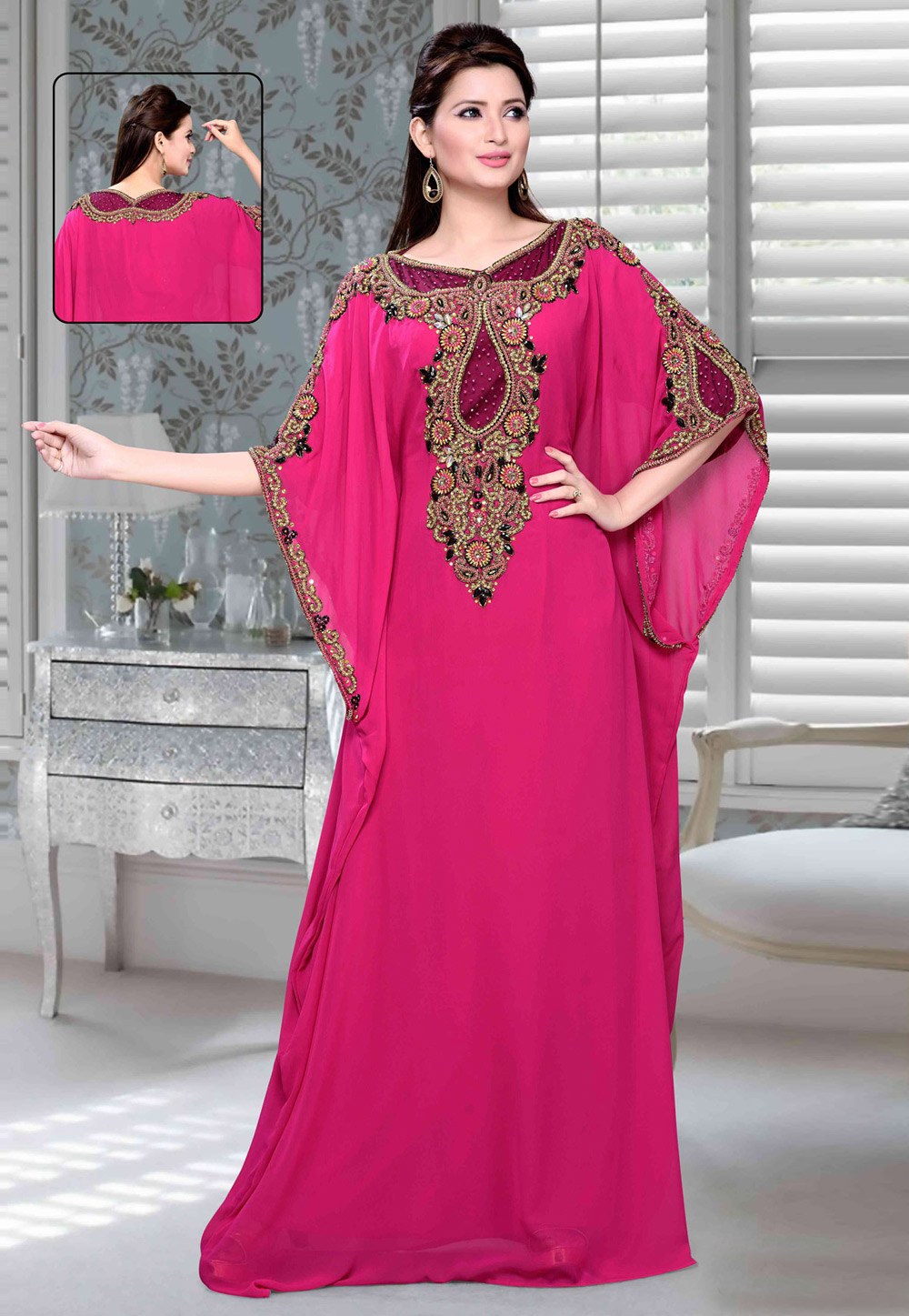 Pink Faux Georgette Embroidered Readymade Farasha 194719