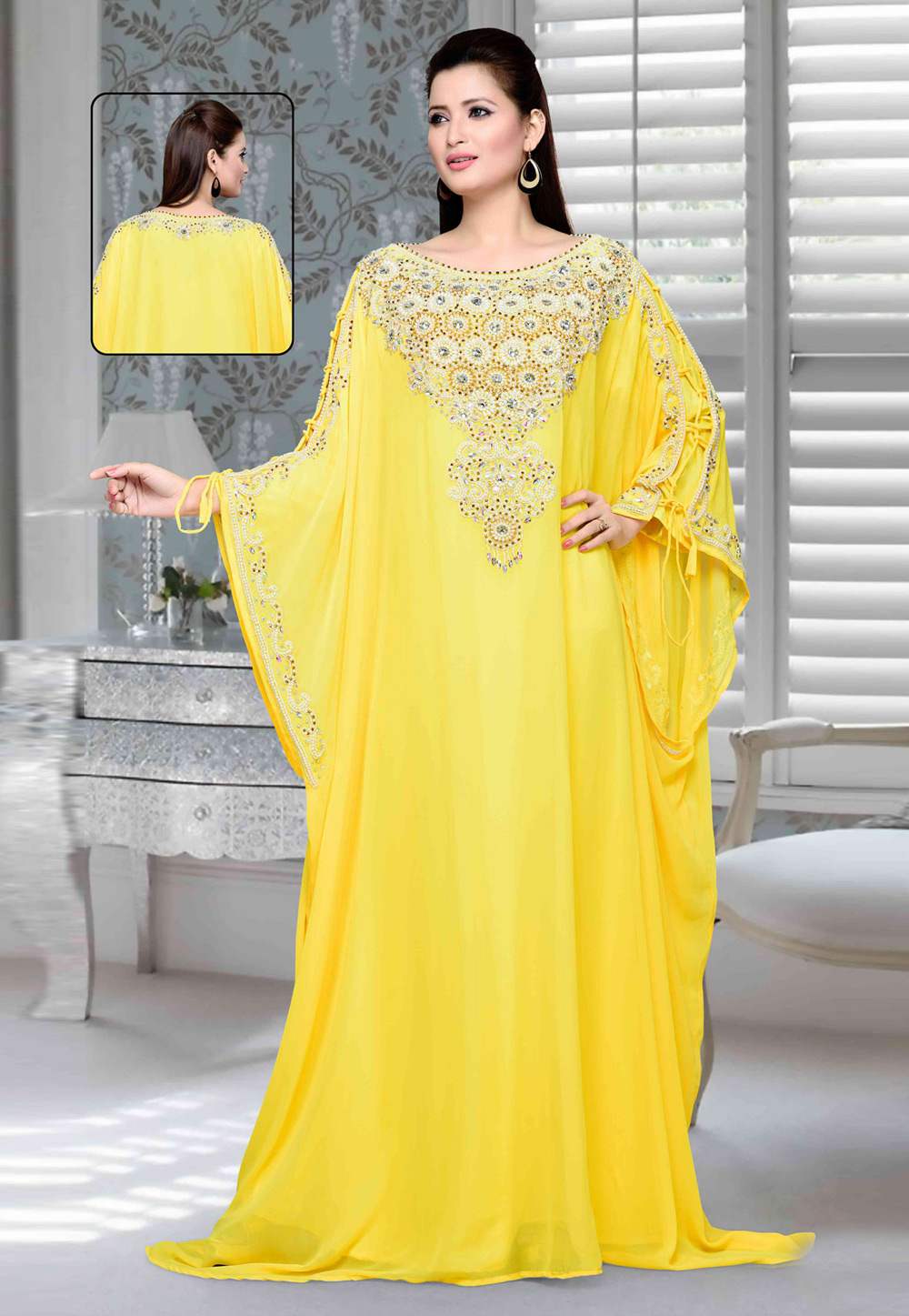 Yellow Faux Georgette Embroidered Readymade Farasha 194722