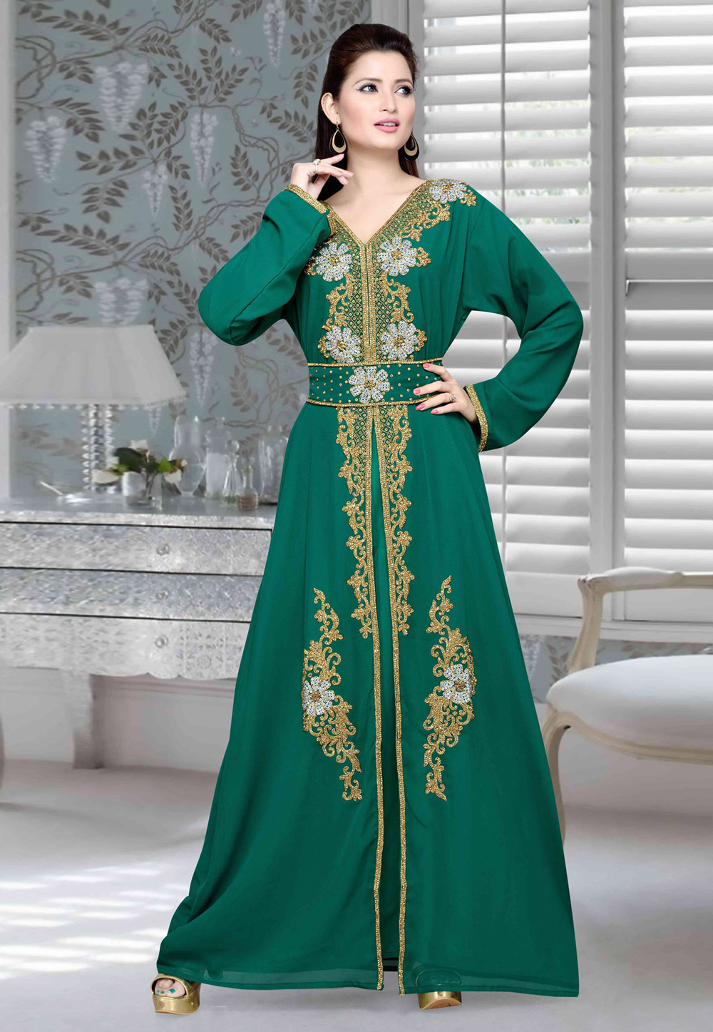 Green Faux Georgette Embroidered Readymade Kaftan 194723
