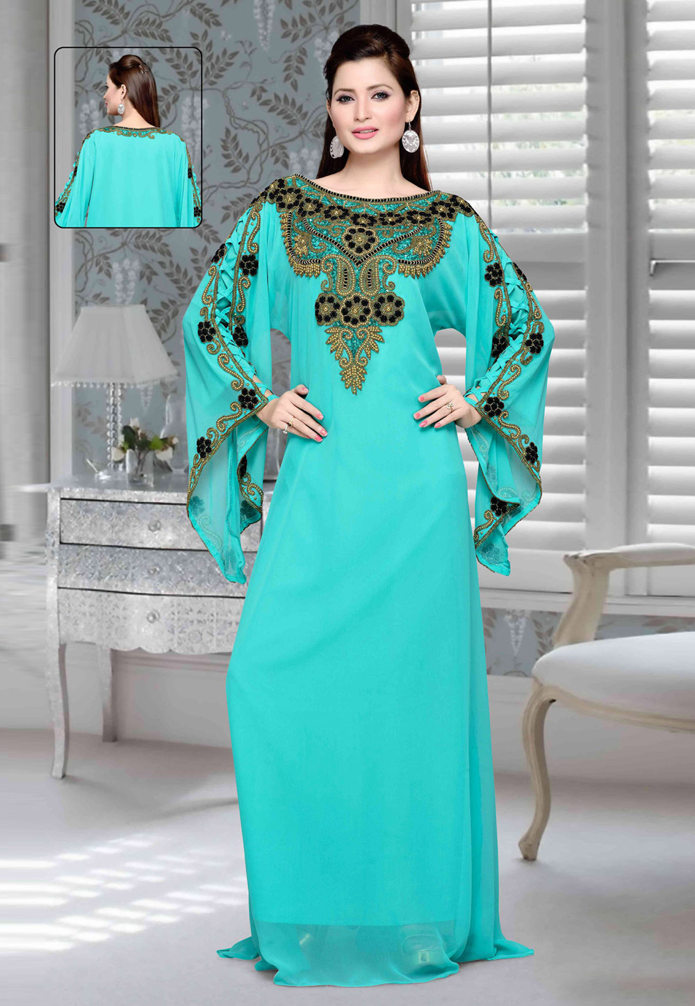 Sky Blue Faux Georgette Embroidered Readymade Kaftan 194724