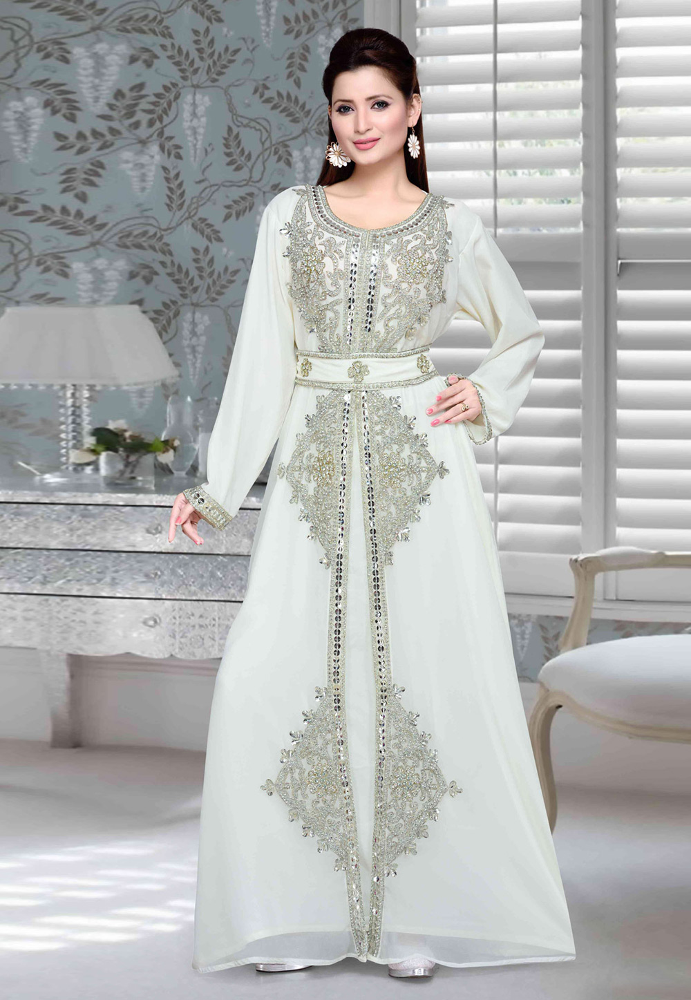 Light Grey Faux Georgette Embroidered Readymade Kaftan 194727
