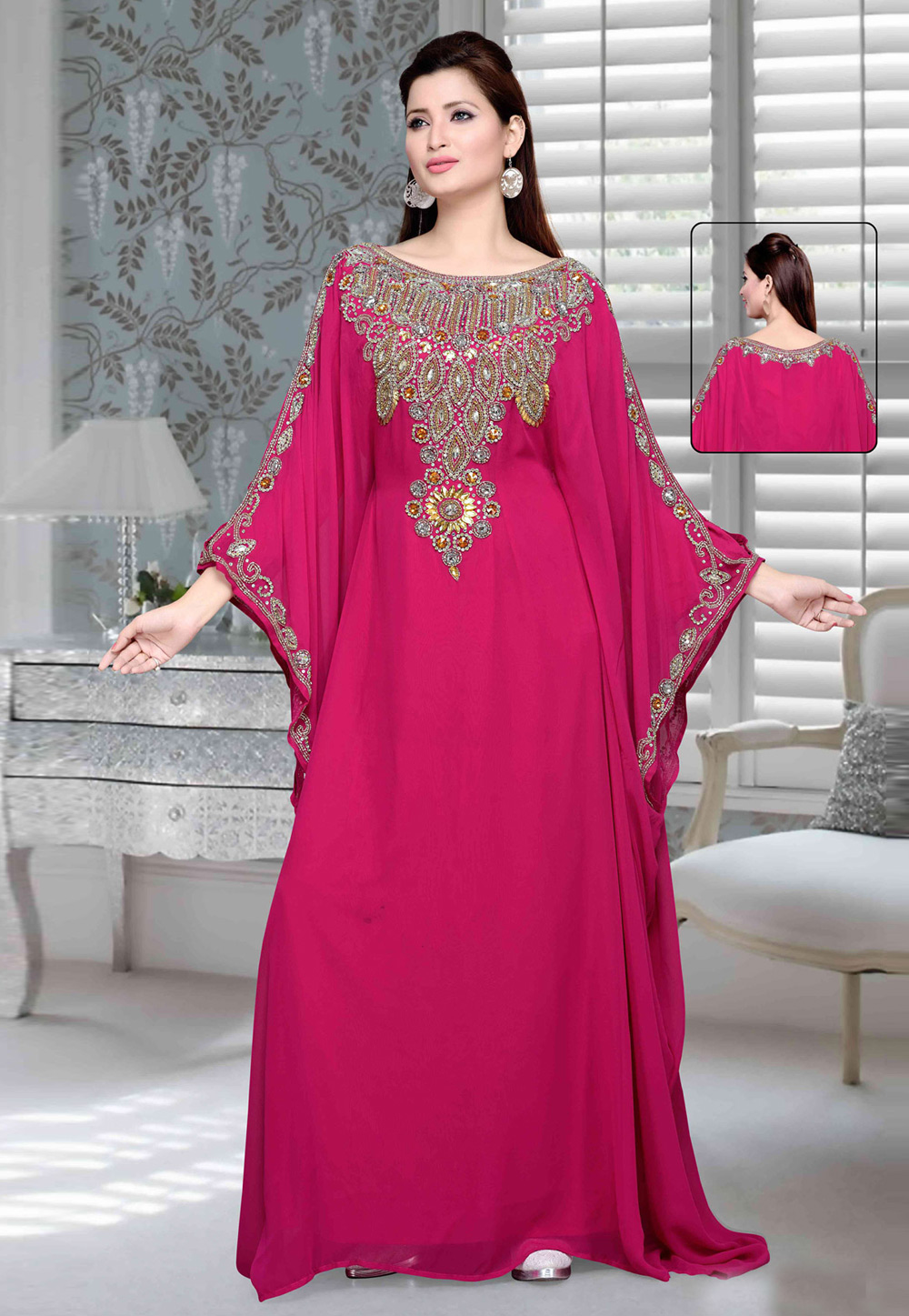 Magenta Faux Georgette Embroidered Readymade Farasha 194728