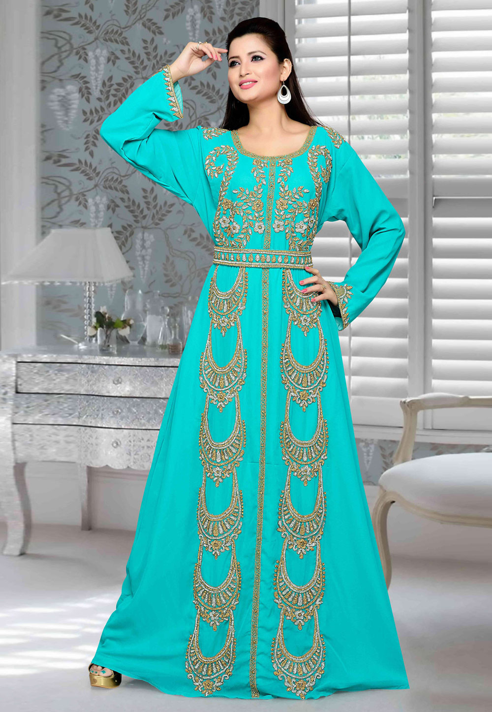Turquoise Faux Georgette Embroidered Readymade Kaftan 194729
