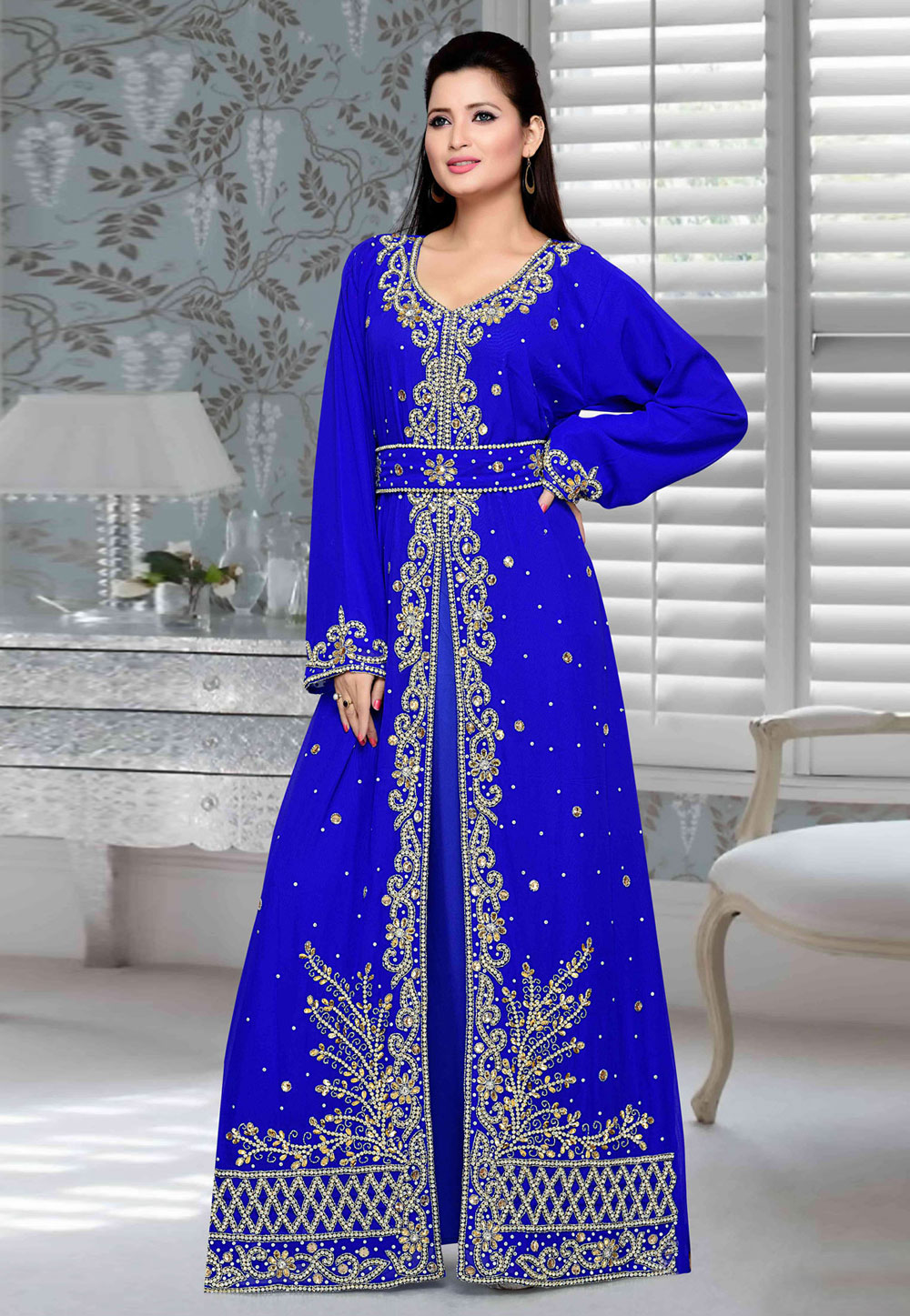 Blue Faux Georgette Embroidered Readymade Kaftan 194730
