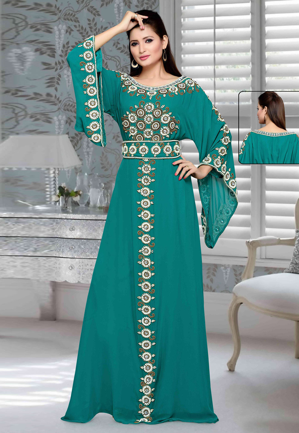 Teal Green Faux Georgette Embroidered Readymade Kaftan 194733