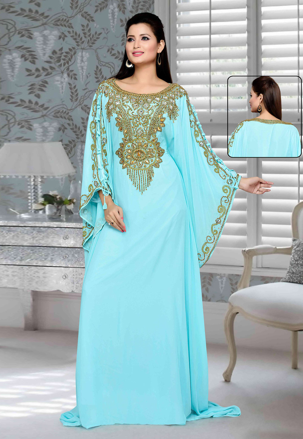 Sky Blue Faux Georgette Embroidered Readymade Farasha 194735