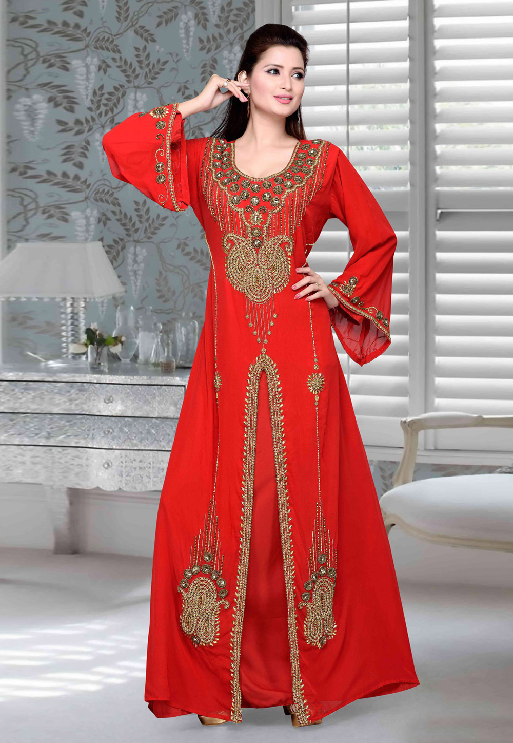 Red Faux Georgette Embroidered Readymade Kaftan 194736