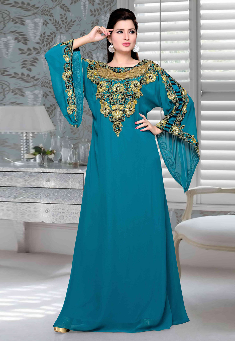 Blue Faux Georgette Embroidered Readymade Kaftan 194738