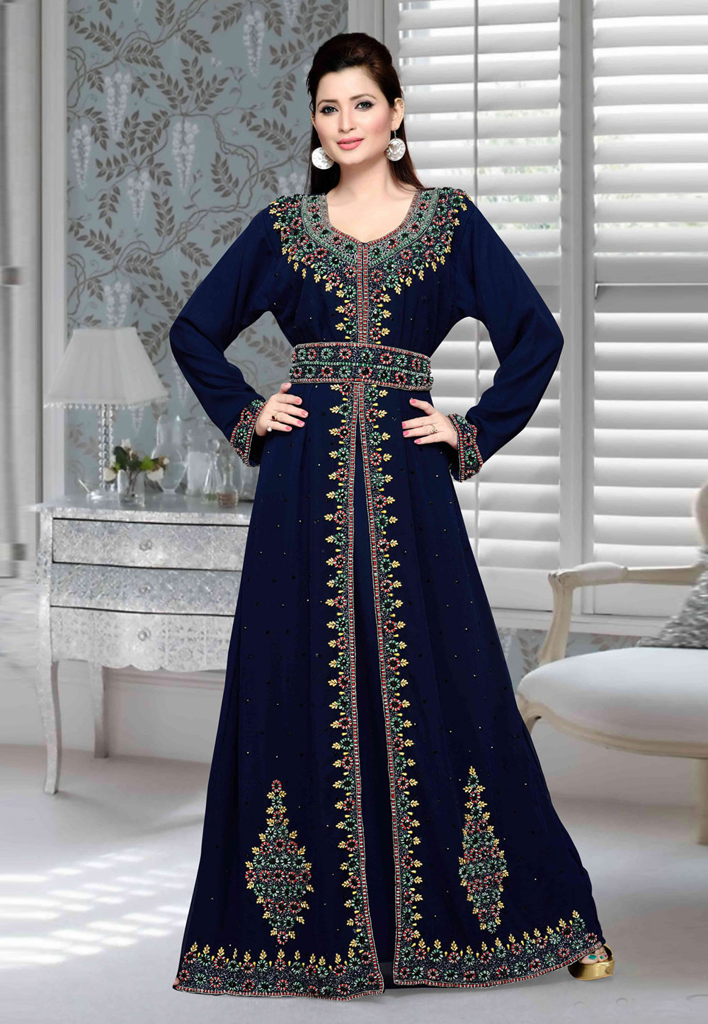 Navy Blue Faux Georgette Embroidered Readymade Kaftan 194739