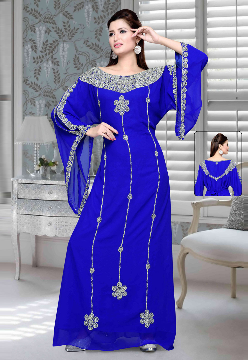 Blue Faux Georgette Embroidered Readymade Kaftan 194742