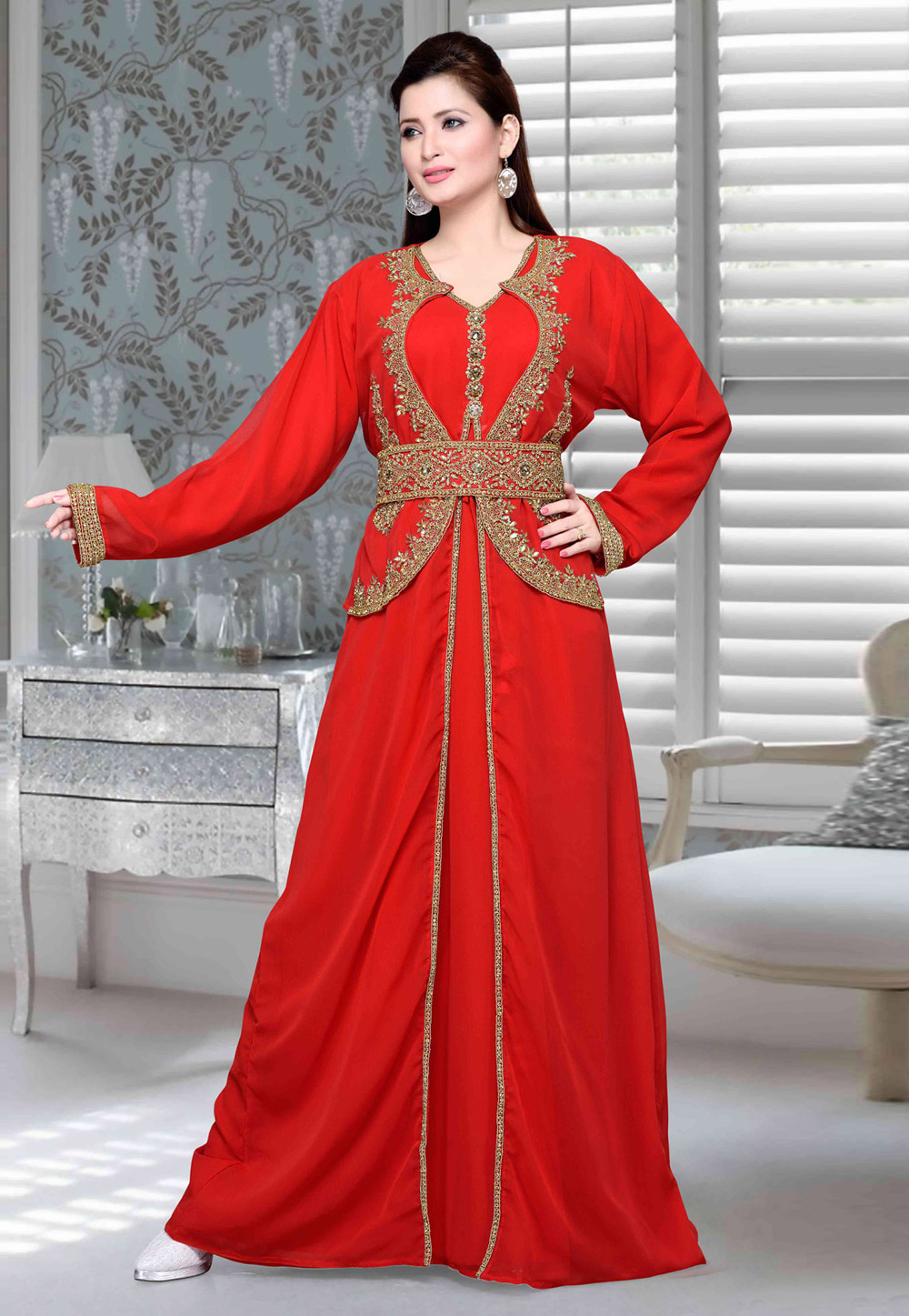 Red Faux Georgette Embroidered Readymade Moroccan Kaftan 194743