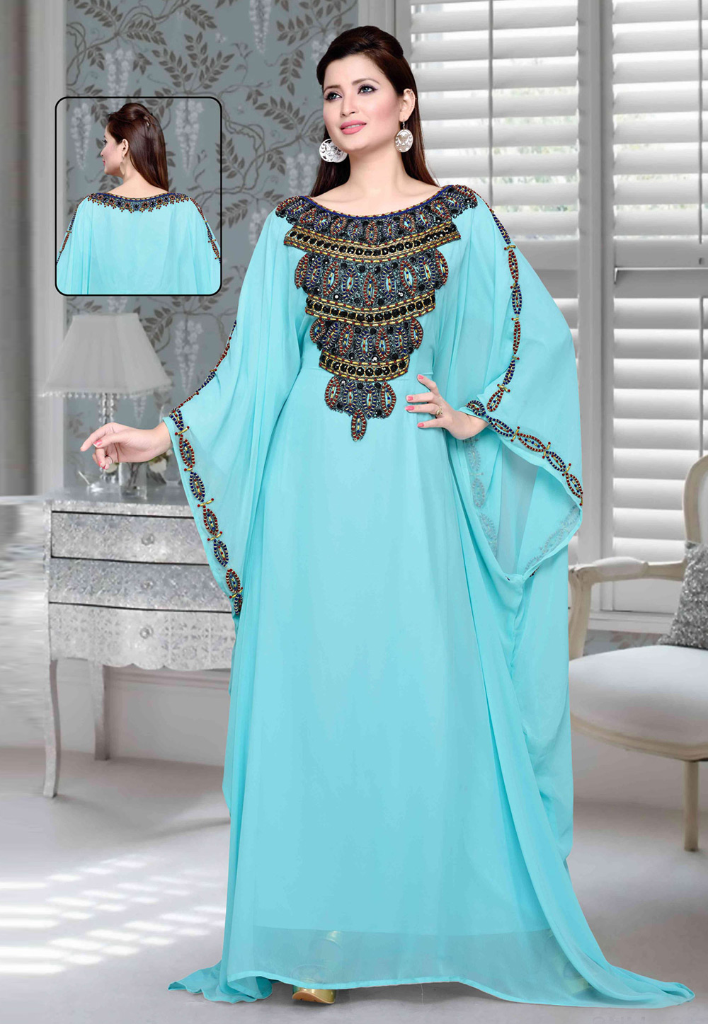 Aqua Faux Georgette Embroidered Readymade Farasha 194744