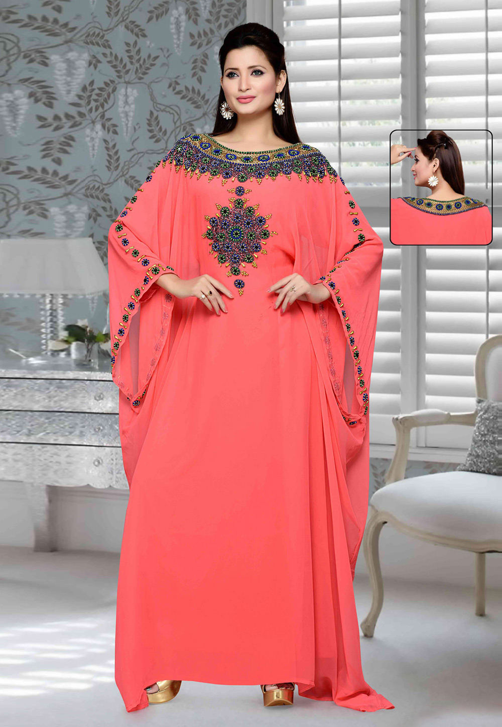 Coral Pink Faux Georgette Embroidered Readymade Farasha 194750