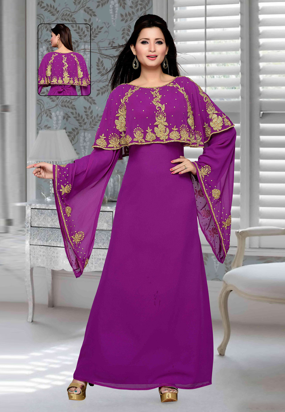 Purple Faux Georgette Embroidered Readymade Kaftan 194751