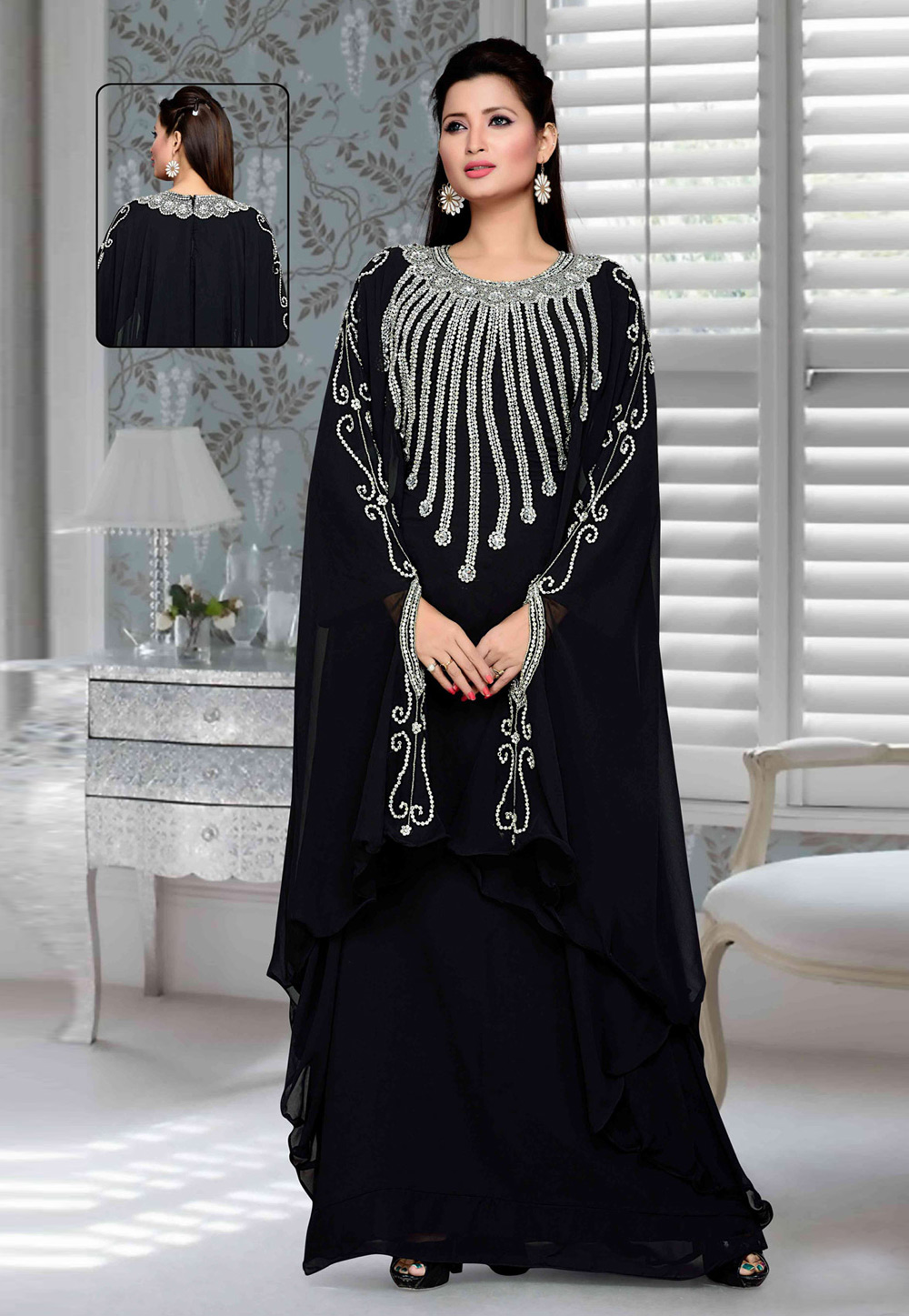 Navy Blue Faux Georgette Embroidered Readymade Farasha 194753