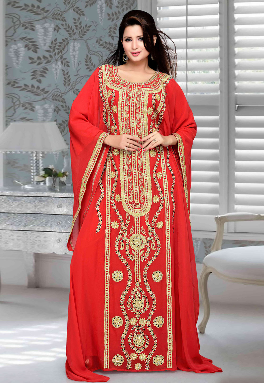 Red Faux Georgette Embroidered Readymade Farasha 194754