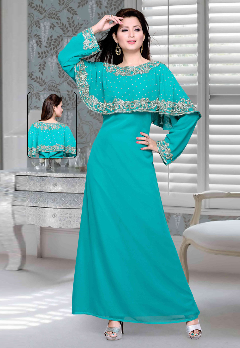 Turquoise Faux Georgette Embroidered Readymade Kaftan 194757