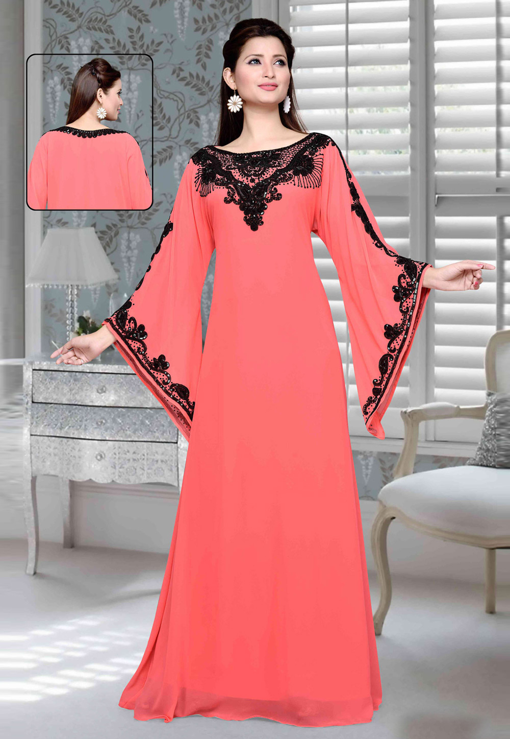 Peach Faux Georgette Embroidered Readymade Kaftan 194758