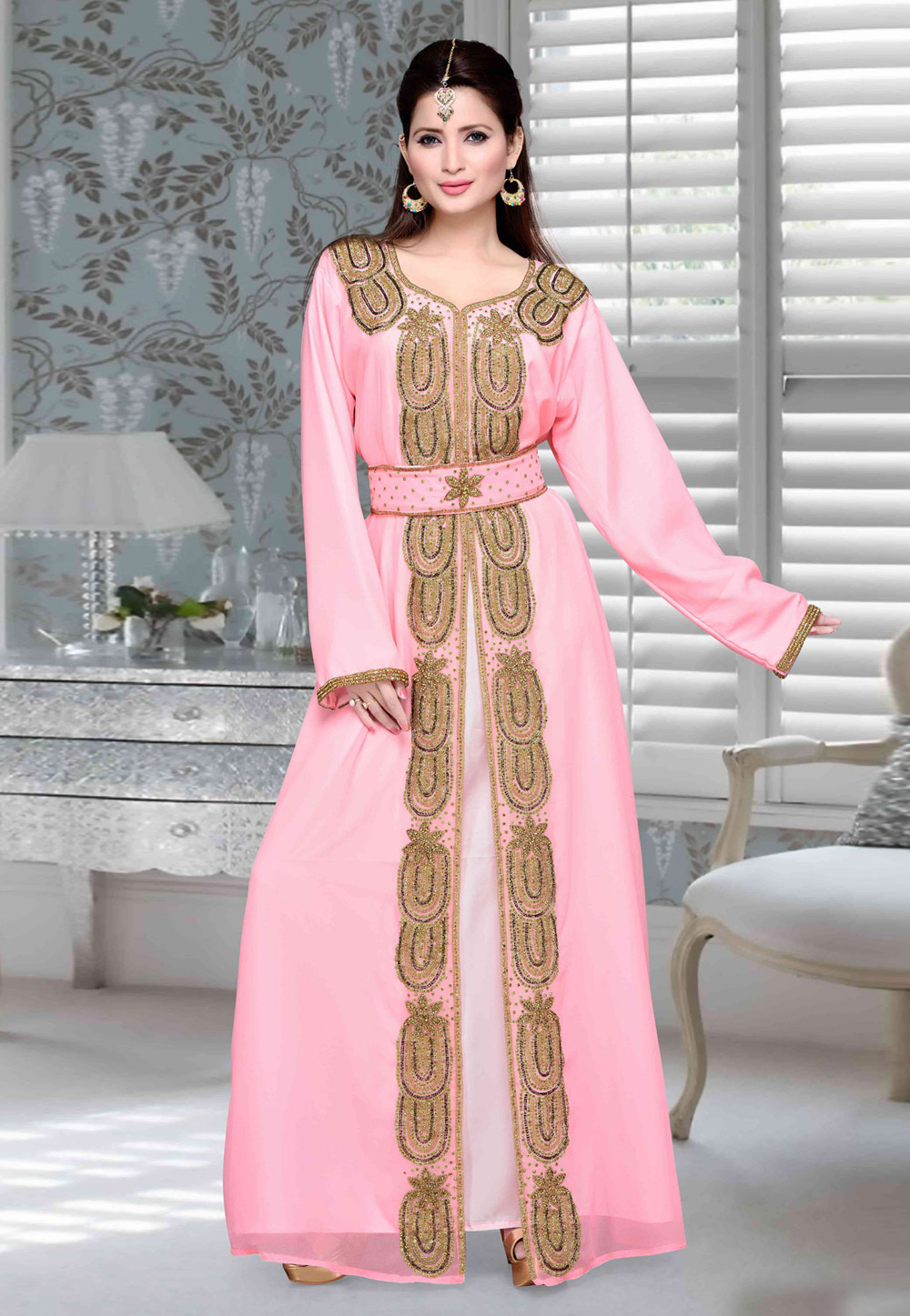 Pink Faux Georgette Embroidered Readymade Moroccan Kaftan 194761
