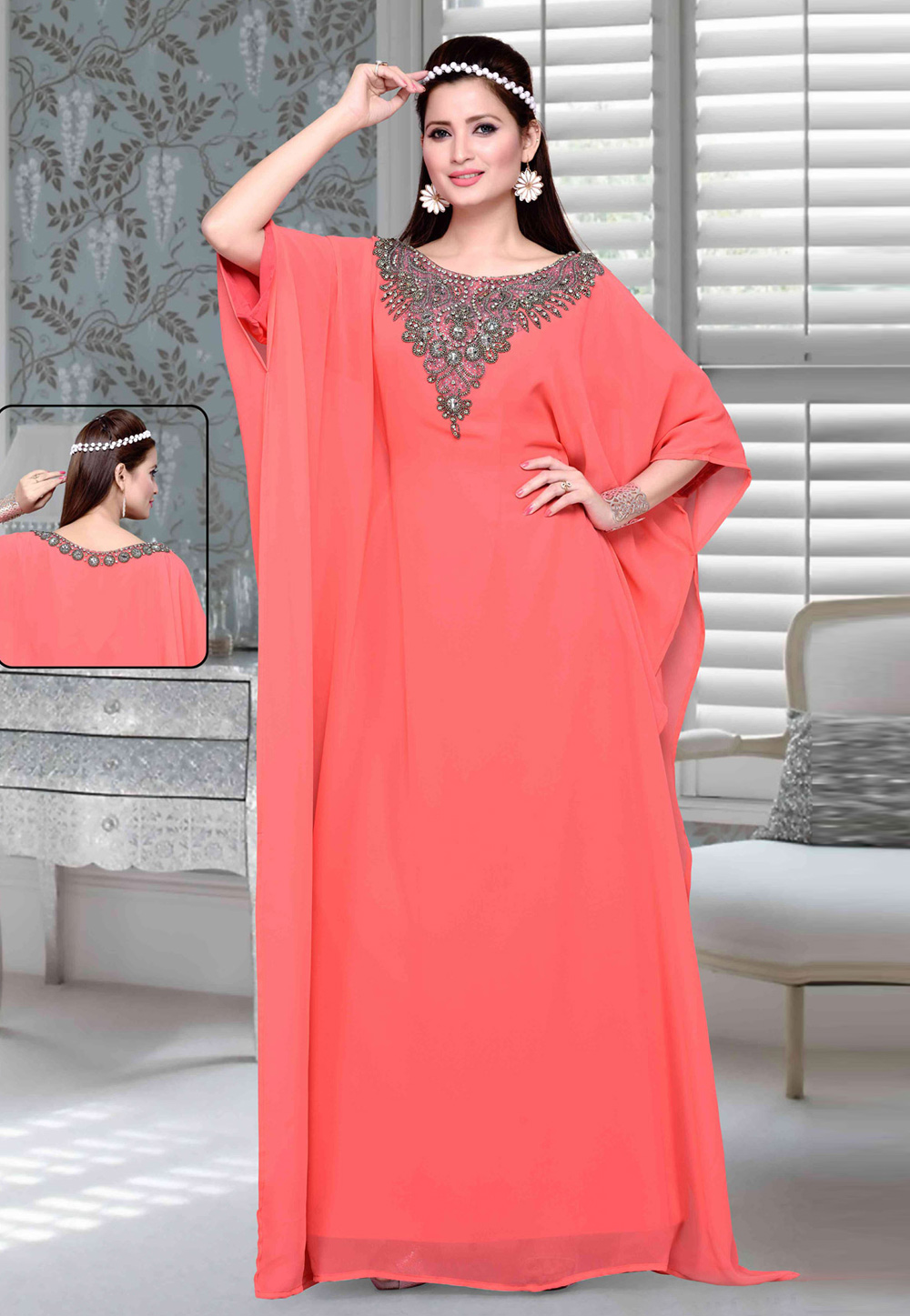 Pink Faux Georgette Embroidered Readymade Farasha 194768