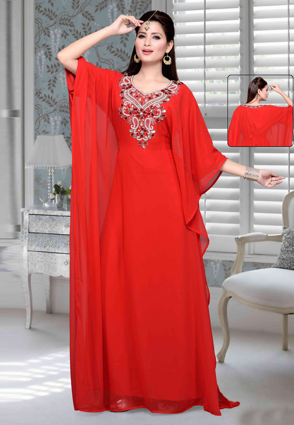 Red Faux Georgette Embroidered Readymade Farasha 194769