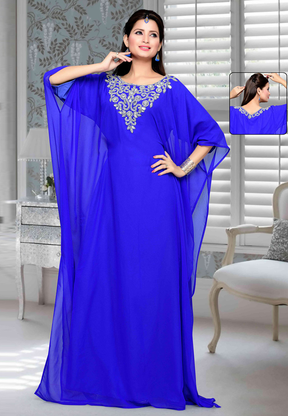 Blue Faux Georgette Embroidered Readymade Farasha 194770
