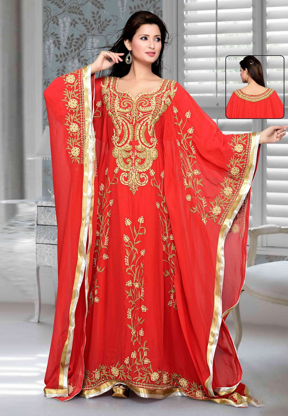 Red Faux Georgette Embroidered Readymade Farasha 194771
