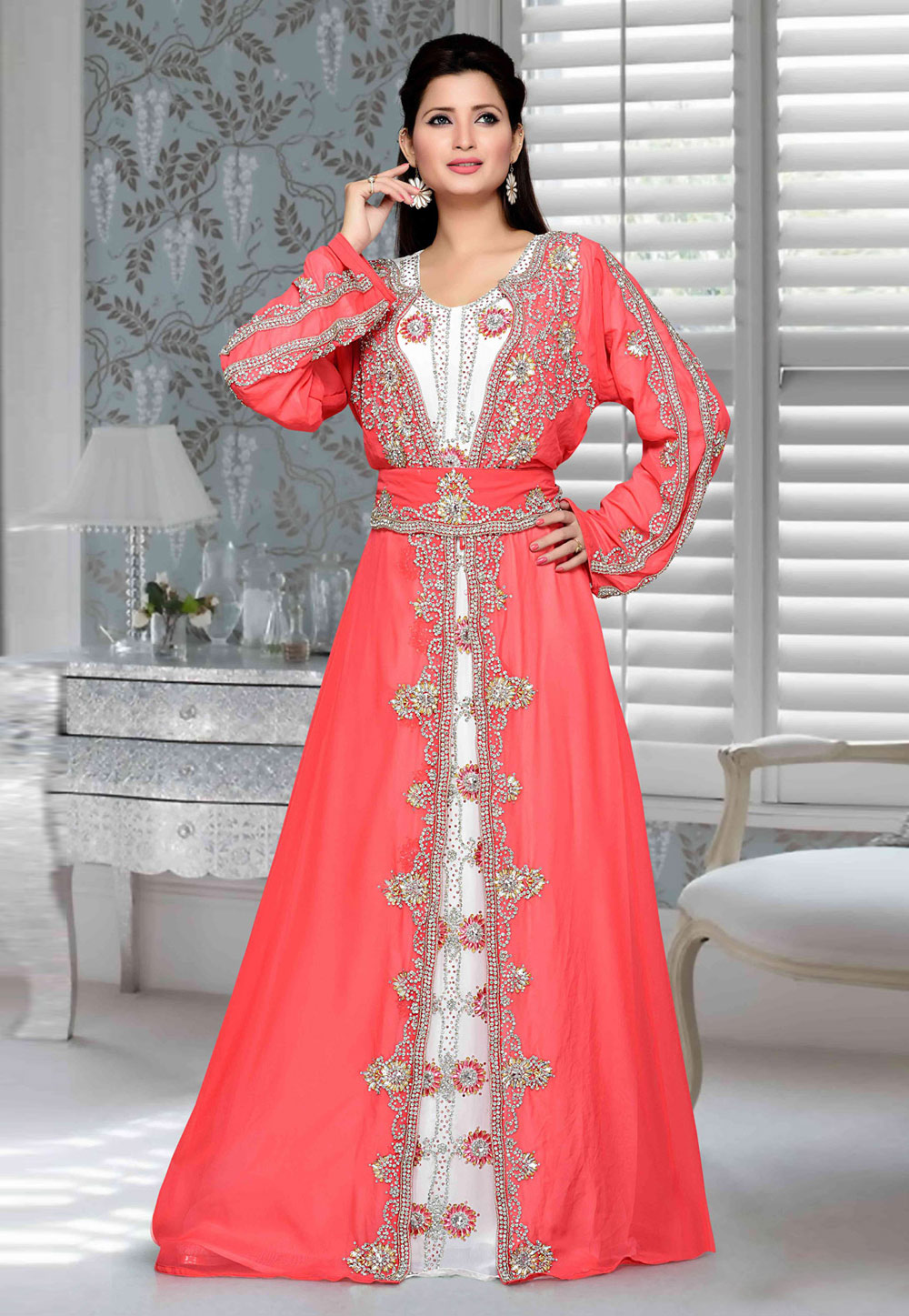 Pink Faux Georgette Embroidered Readymade Kaftan 194774