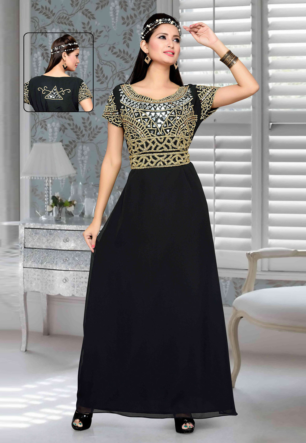 Black Faux Georgette Embroidered Readymade Fustan 194775