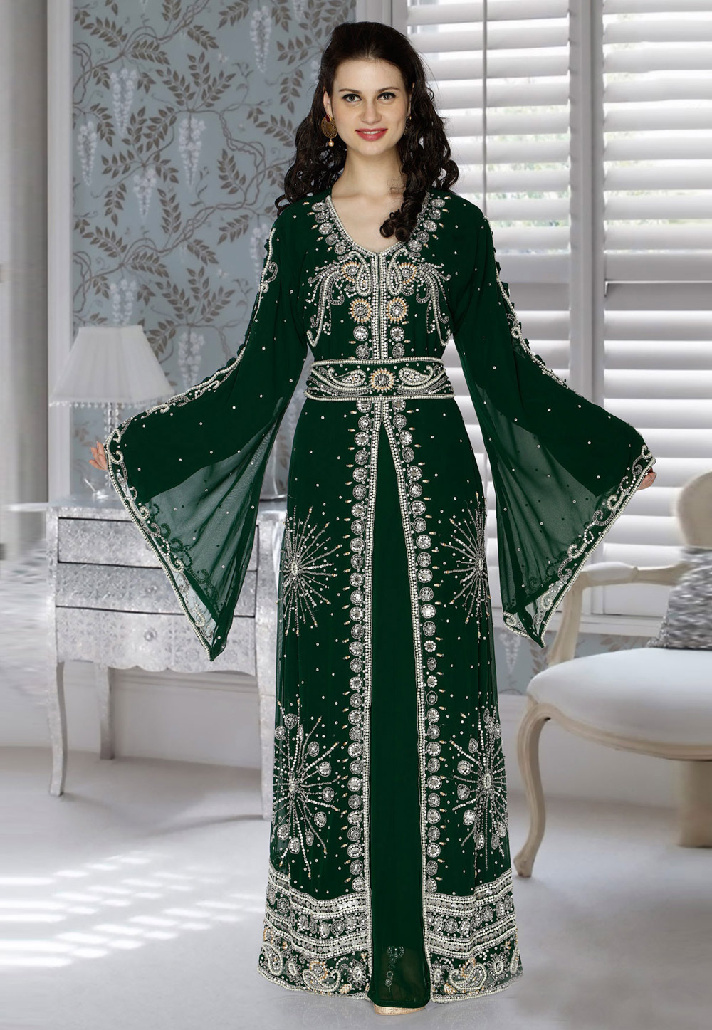 Green Faux Georgette Embroidered Readymade Kaftan 194778