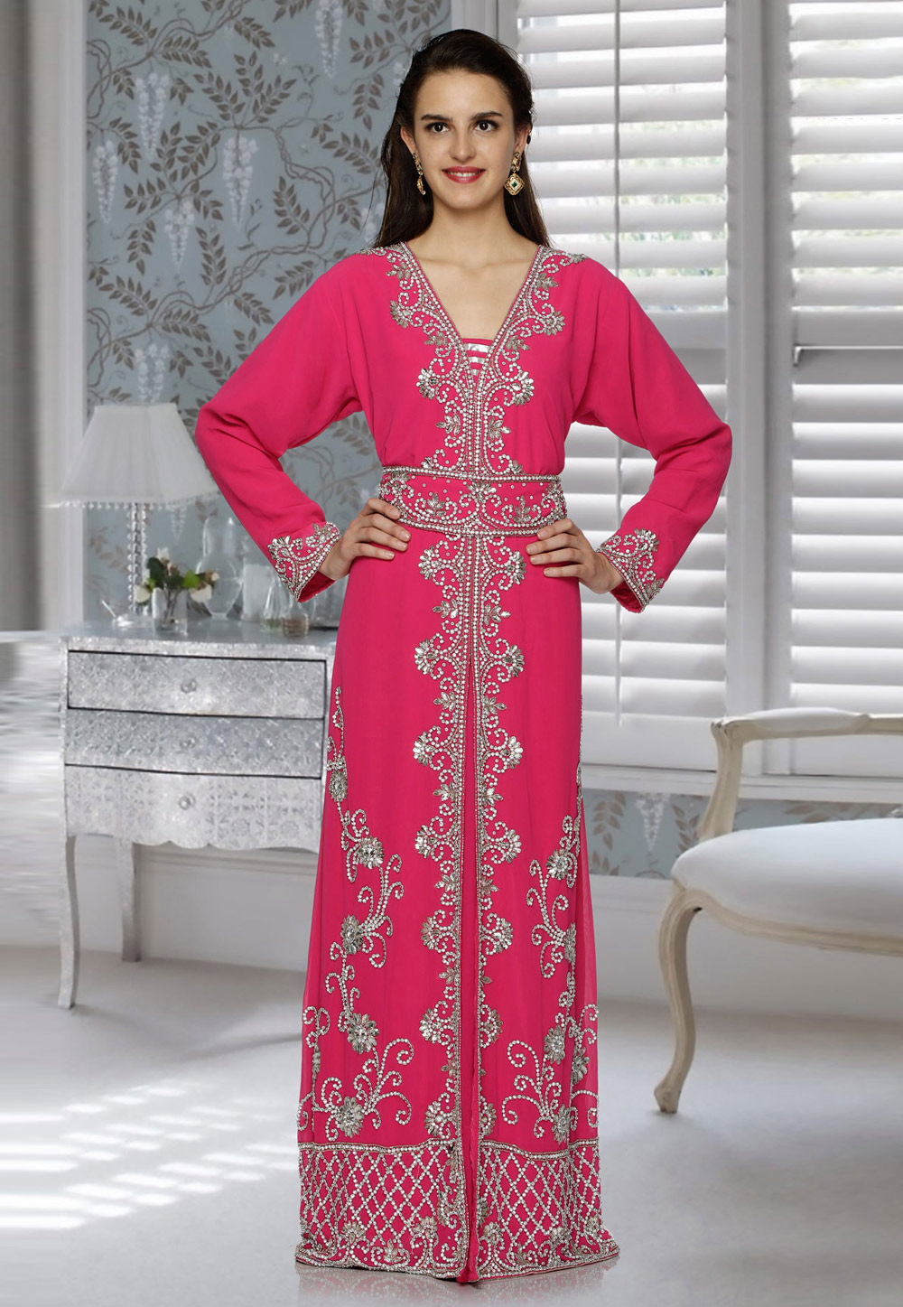 Pink Faux Georgette Embroidered Readymade Kaftan 194780