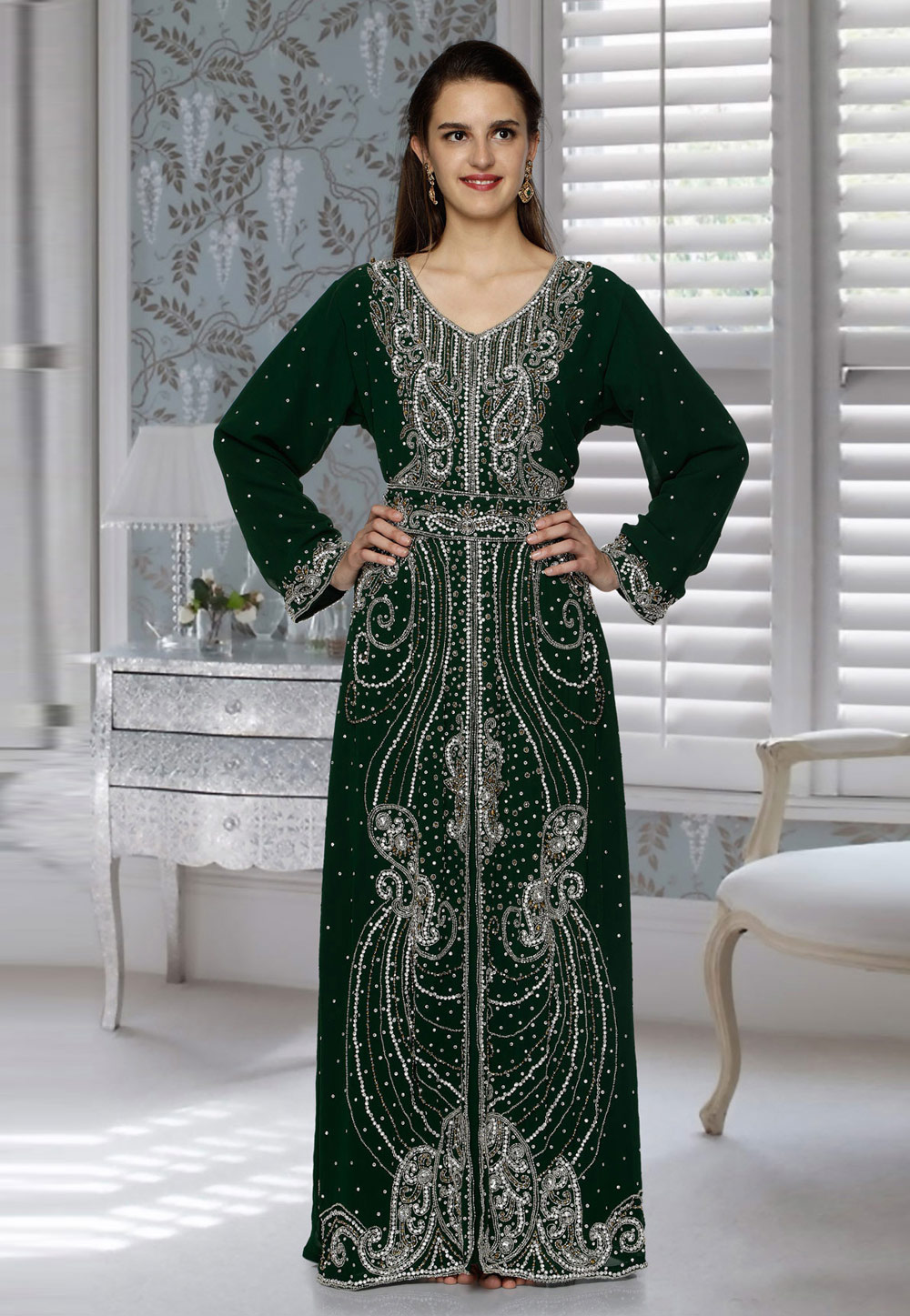 Green Faux Georgette Embroidered Readymade Kaftan 194782