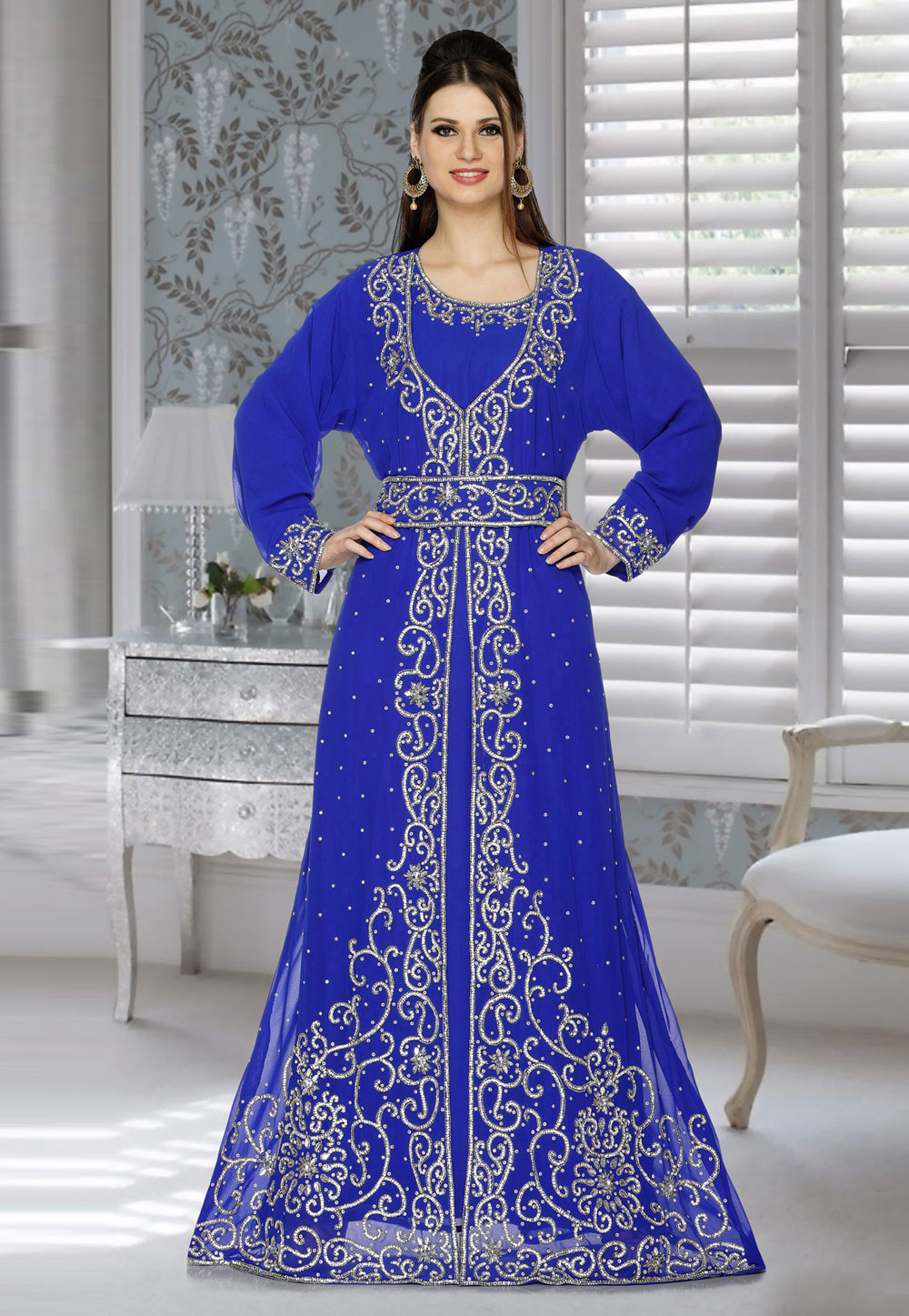 Blue Faux Georgette Embroidered Readymade Kaftan 194783
