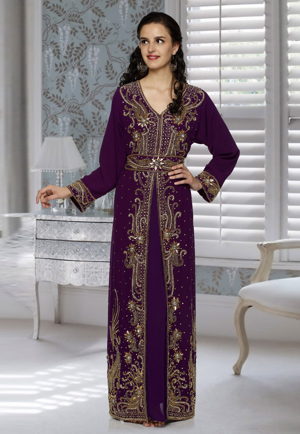 Purple Faux Georgette Embroidered Readymade Kaftan 194784