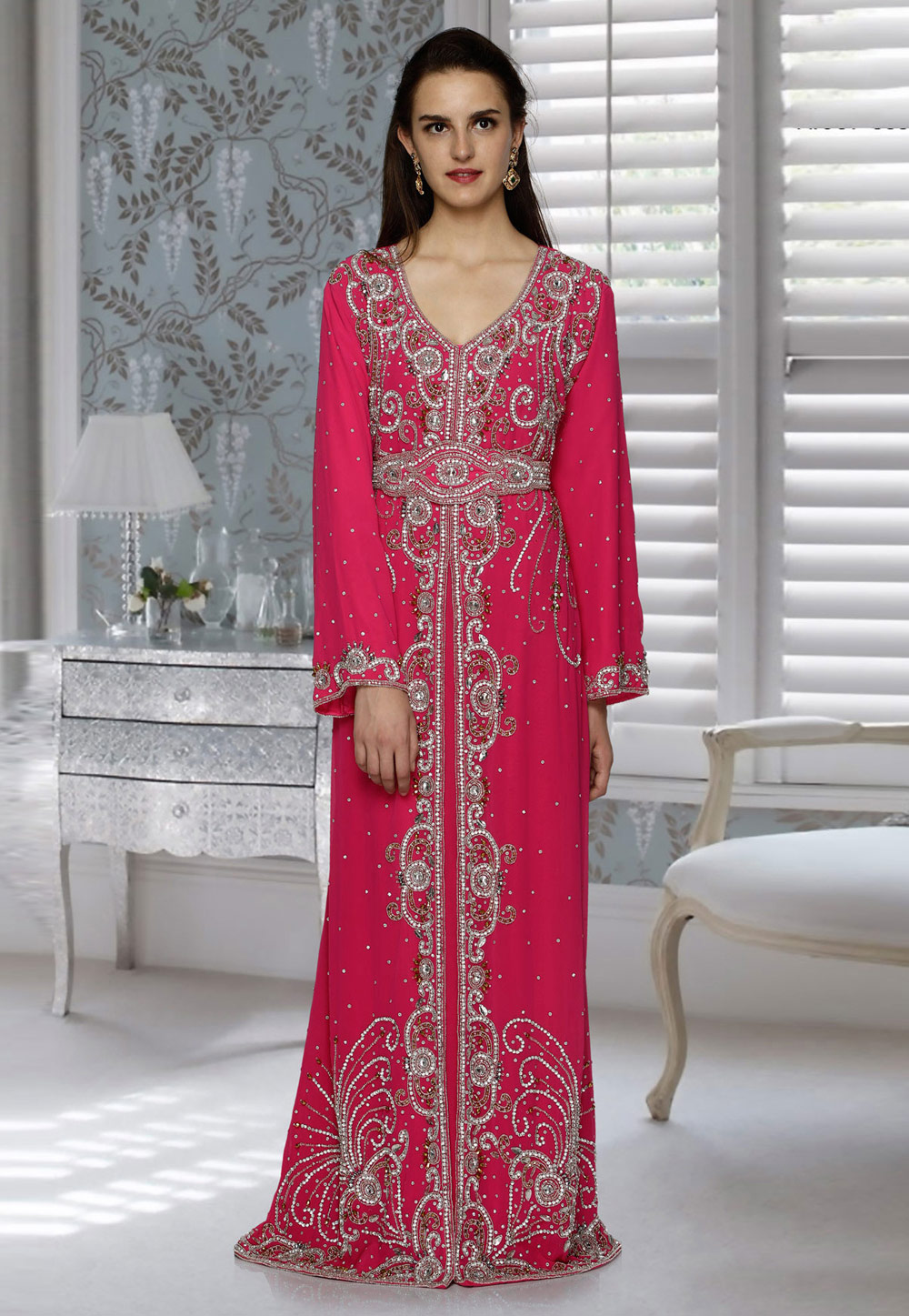 Pink Faux Georgette Embroidered Readymade Moroccan Kaftan 194785