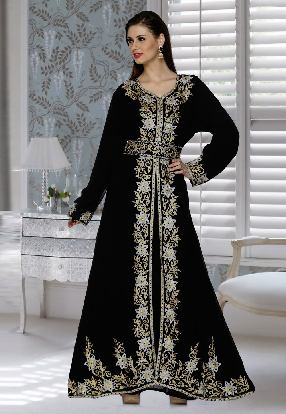 Black Faux Georgette Embroidered Readymade Kaftan 194786