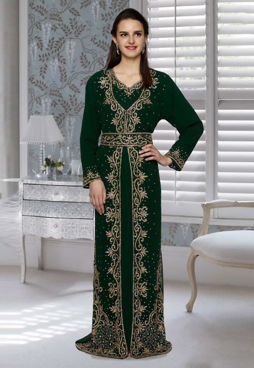 Green Faux Georgette Embroidered Readymade Kaftan 194789