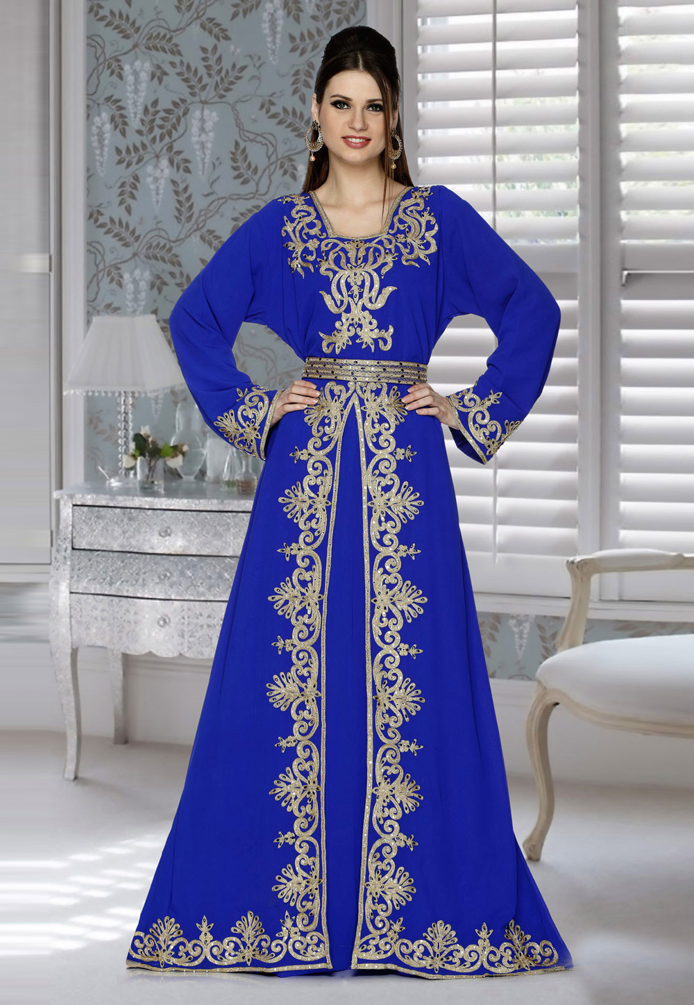 Blue Faux Georgette Embroidered Readymade Kaftan 194790