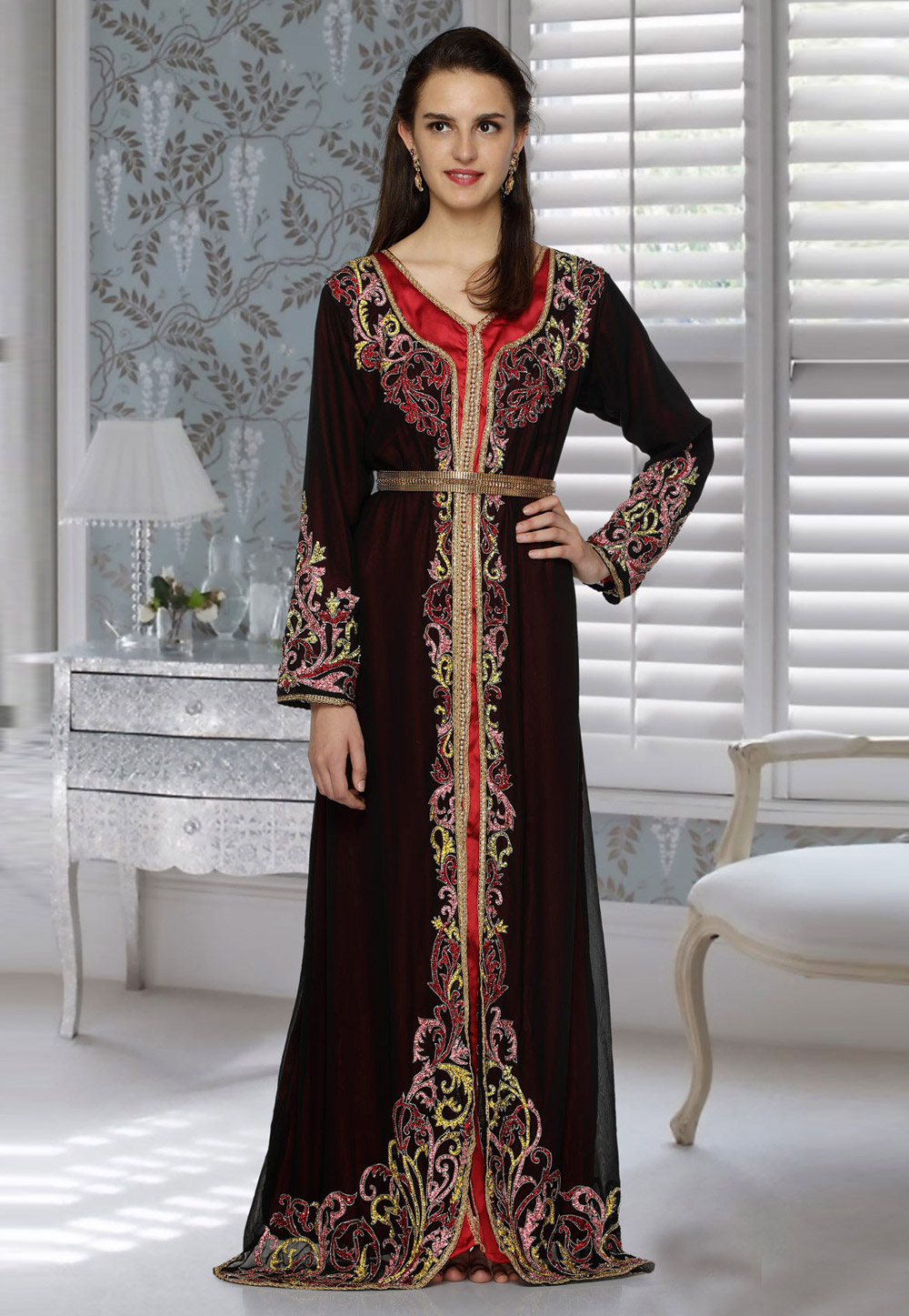 Maroon Faux Georgette Embroidered Readymade Kaftan 194791