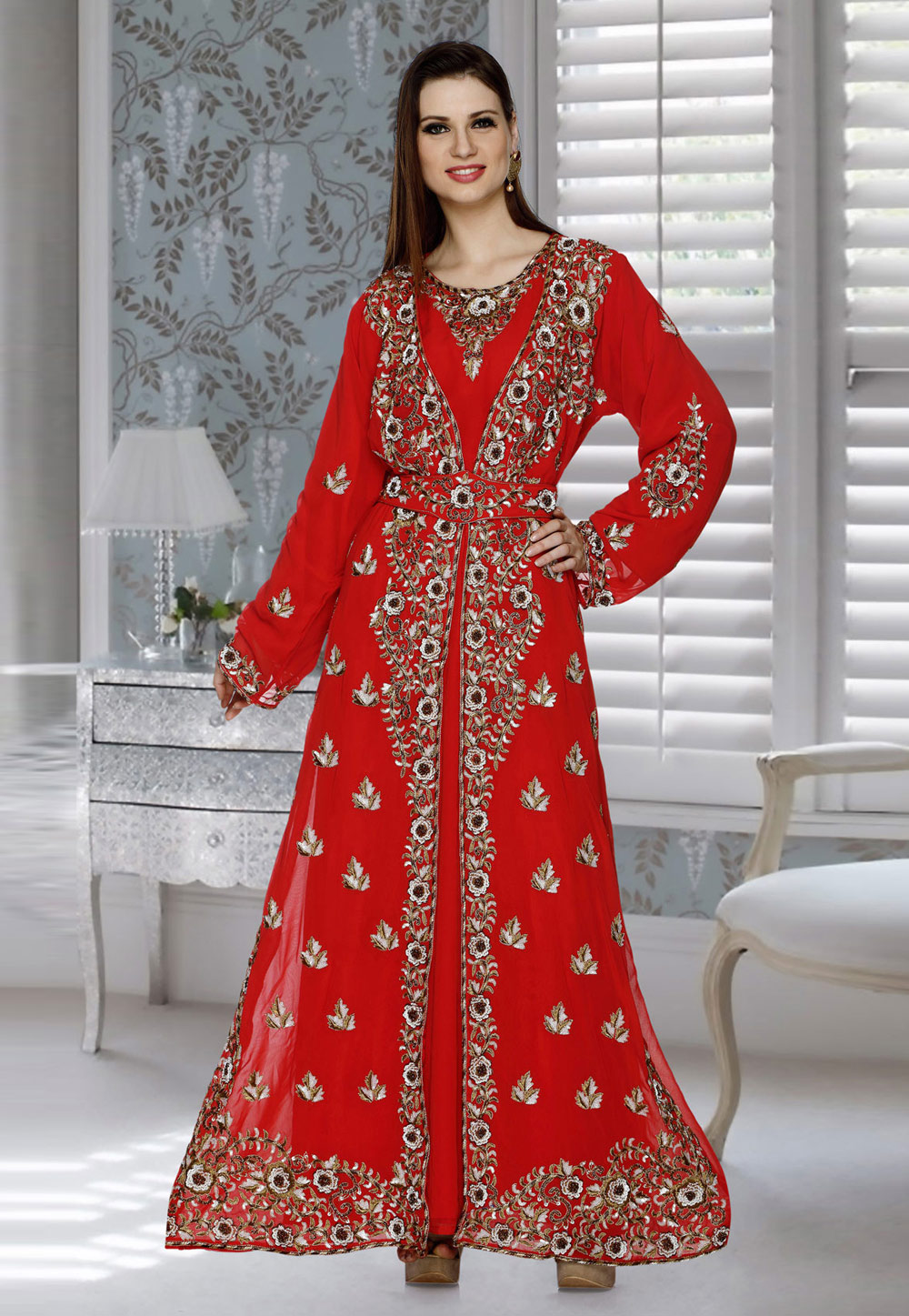 Red Faux Georgette Embroidered Readymade Kaftan 194794
