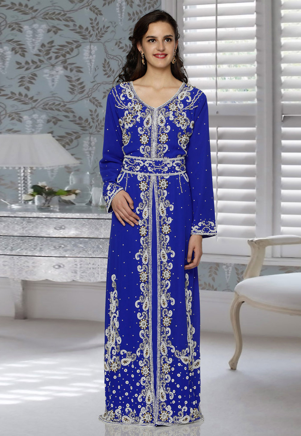 Blue Faux Georgette Embroidered Readymade Kaftan 194796