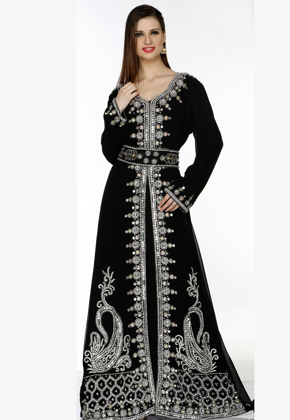 Black Faux Georgette Embroidered Readymade Kaftan 194798