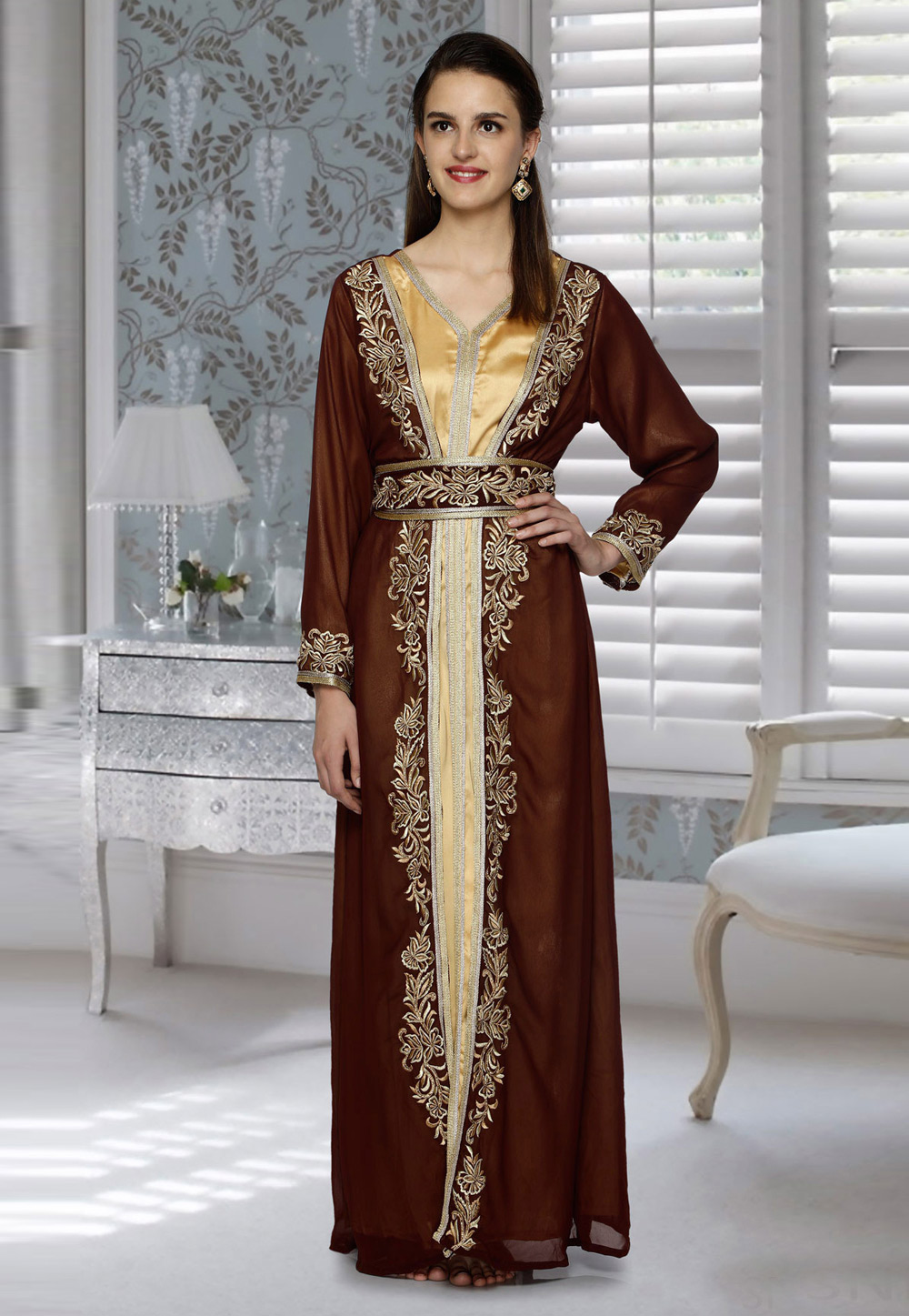 Brown Faux Georgette Embroidered Readymade Kaftan 194799