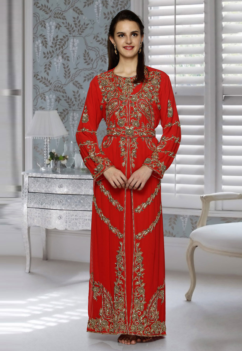 Red Faux Georgette Embroidered Readymade Kaftan 194800