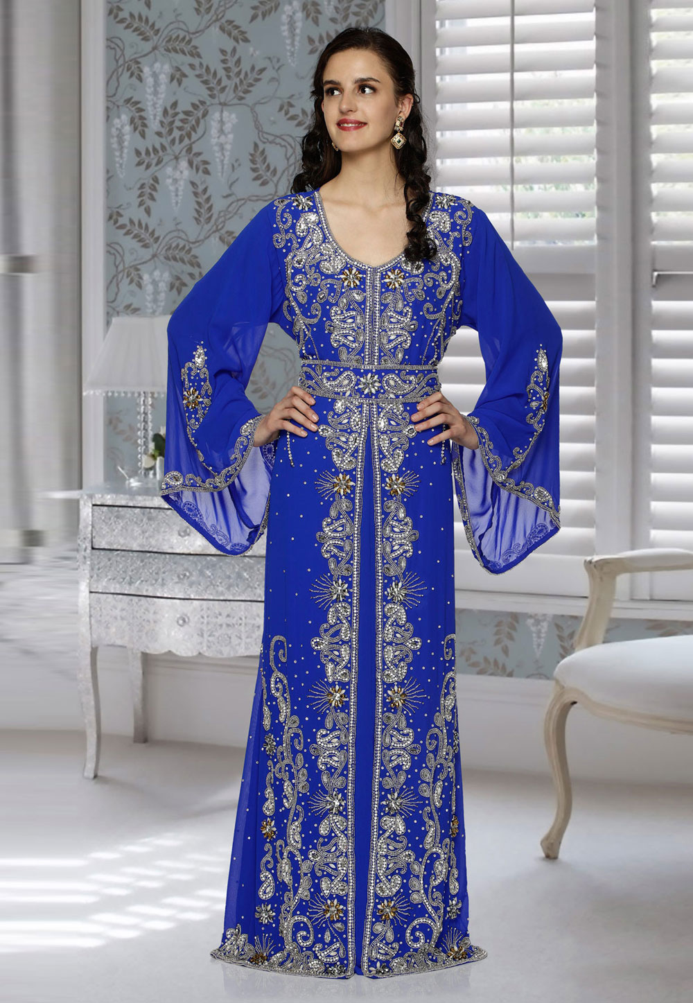 Blue Faux Georgette Embroidered Readymade Kaftan 194802
