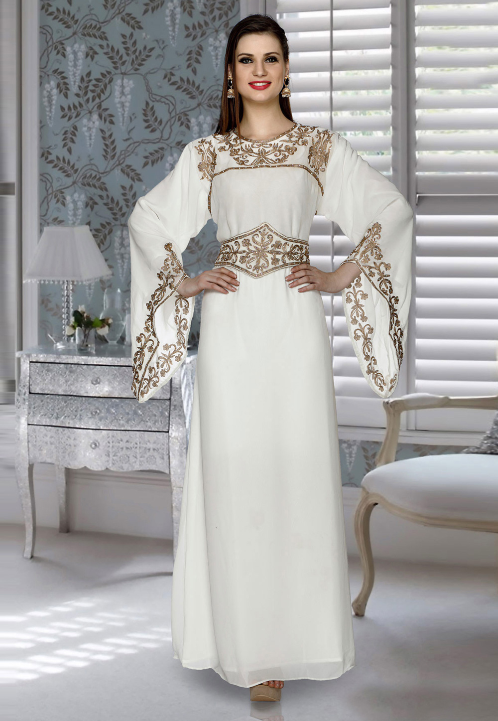 Off White Faux Georgette Embroidered Readymade Kaftan 194803