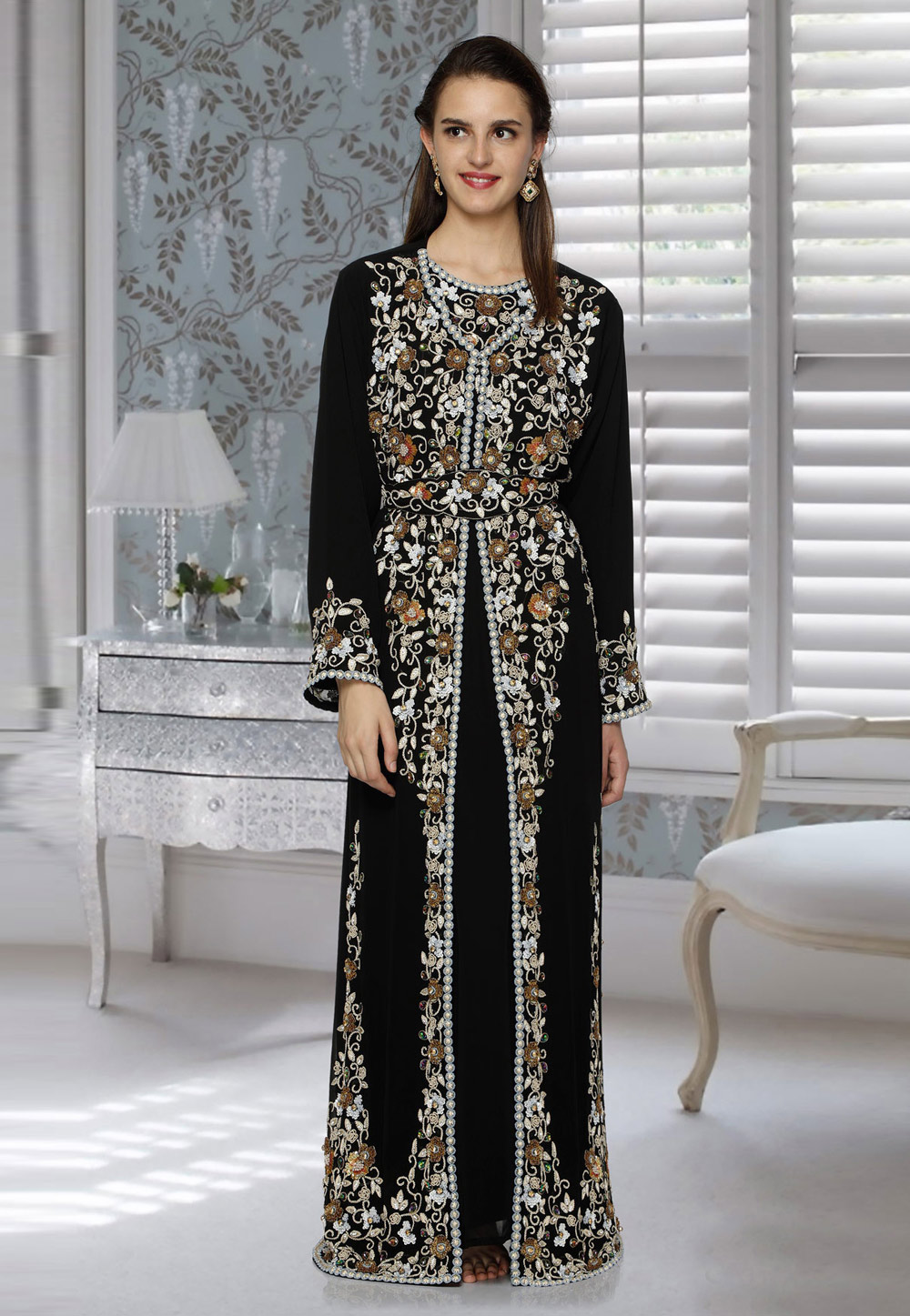 Black Faux Georgette Embroidered Readymade Moroccan Kaftan 194805