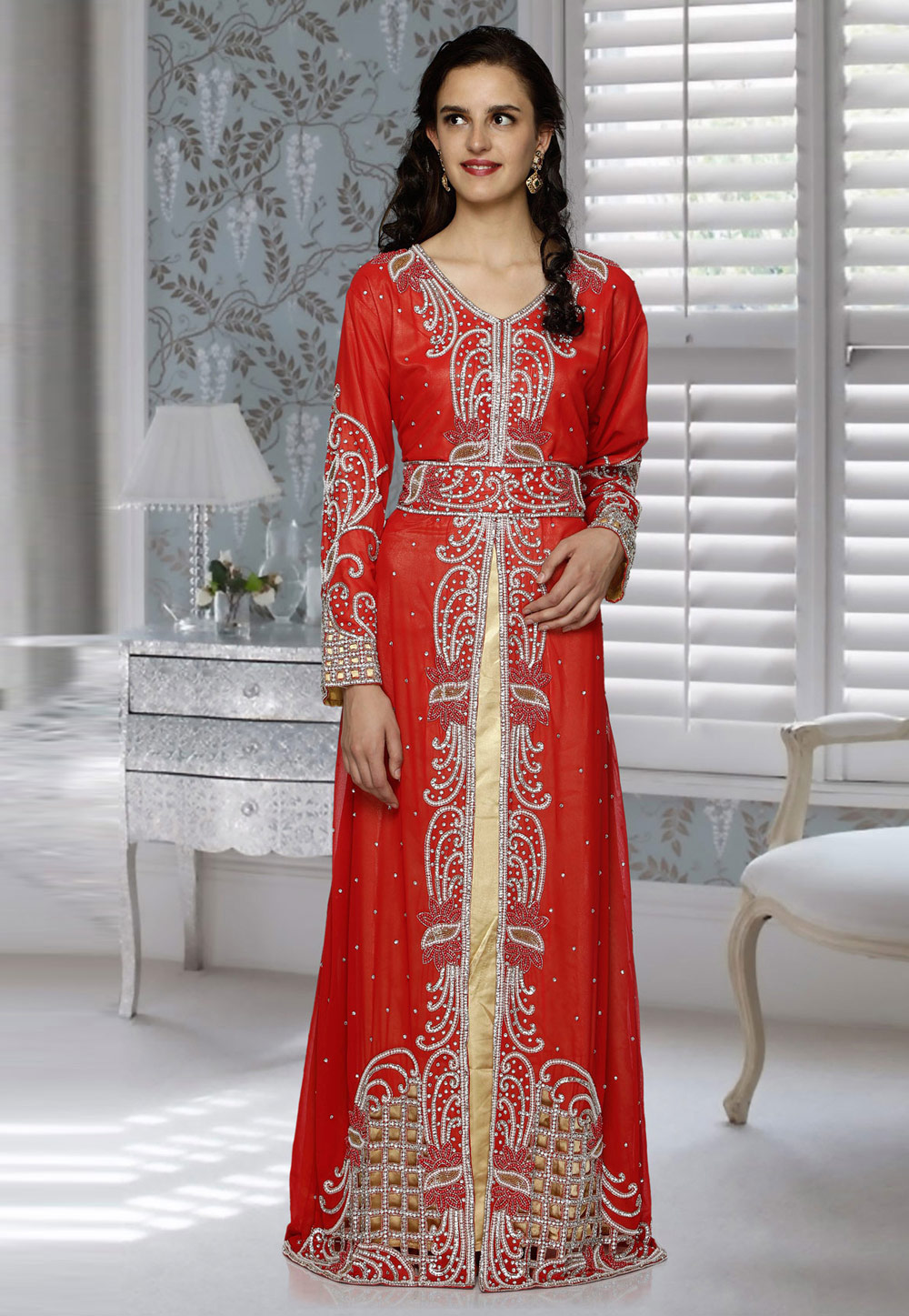 Red Faux Georgette Embroidered Readymade Kaftan 194807