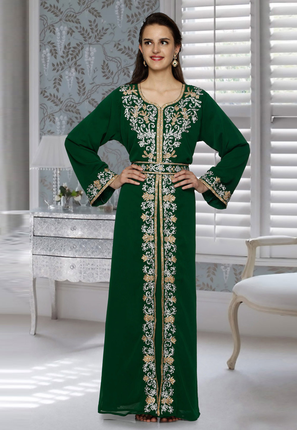 Green Faux Georgette Embroidered Readymade Kaftan 194808